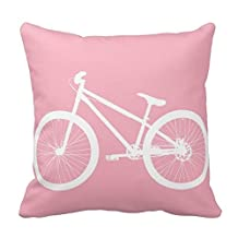 Bigdream Pink And White Vintage Bicycle Pillow Decorative Throw Pillowcase Cushion Case 18 X 18