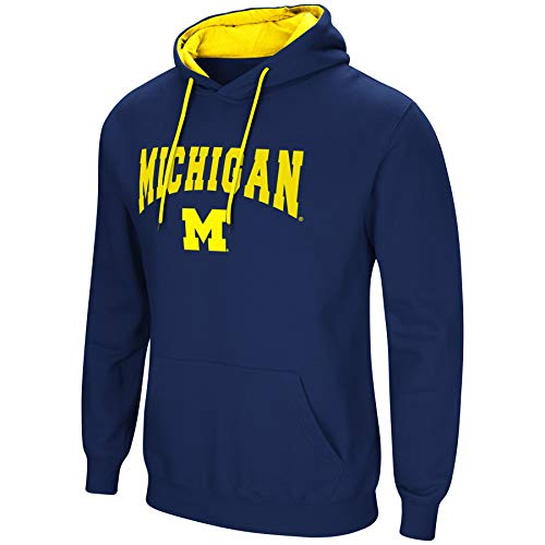 Colosseum NCAA Men's-Cold Streak-Hoody Pullover Sweatshirt with Tackle Twill-Michigan - Football Michigan Hoodie