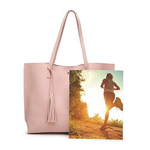 Tassel Capacité Sling Rose Totes Sac Simples Grande Domybest Femme Shopping Cuir À Main Pure wRzqxnCF