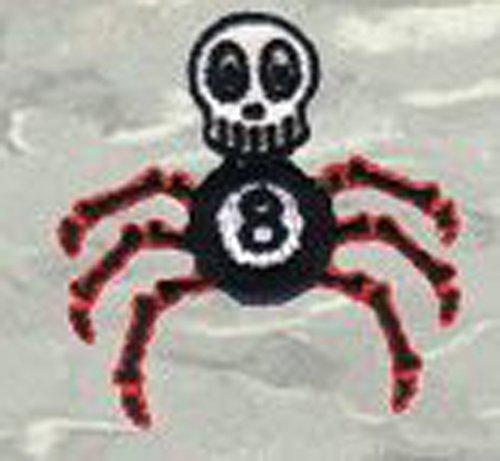 Chico Von Spoon Artist Embroidered Iron On Patch   Skull 8 Ball Spider Applique