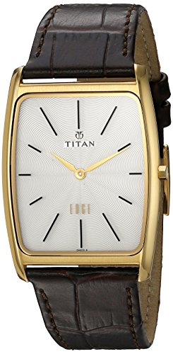 Titan Men's 1596YL01 Edge Analog Display Quartz Brown Watch