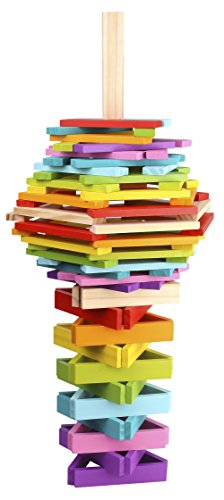Pidoko Kids City Tower Tumbling and Building Blocks, Bright Colors (100 Pcs) - Limited Edition - Wooden Stacking Board Games for Toddlers Boys & Girls Age 3 and up by Pidoko Kids
