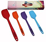GLOUE Silicone Spatula Set – 4-piece 450oF Heat-Resistant Baking Spoon & Spatulas – Ergonomic Easy-to-Clean Seamless One-Piece Design – Nonstick – Dishwasher Safe – Solid Stainless Steel – Multicolor