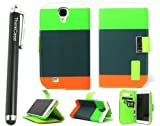 ThinkCase Wallet PU Leather Case Card Holder Flip Case Cover for Samsung i9500 Galaxy S4 - Blue+Black+Green with ThinkCase Stylus Pen