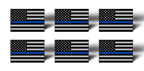 (BLUE LINE 6 Pack MINI American Flag Subdued Stickers Decals Lives Matter - Support Police TAG USA)