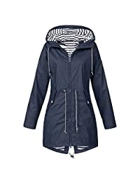 AMOUSTORE Rain Jacket Unisex Striped Lined Hooded Lightweight Raincoat Outdoor Waterproof Windbreaker