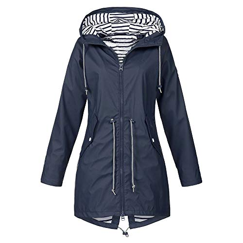 (Tantisy ♣↭♣ Fashion Women's Waterproof Windproof Sunscreen Jacket Outdoor Lightweight Hooded Raincoat Sport Clothing Navy)