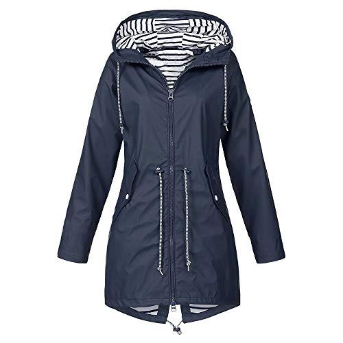 Rain Jackets for Women Plus Size Zipper Raincoats Hoodie Solid Long Sleeve Waterproof Windproof Outdoor Coats (XL, Navy)