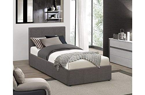 FurnitureDepot1 Stilvolle 3 Ft Single Grau Stoff Ottoman Bett mit 15 cm Memory Foam Matratze FTA