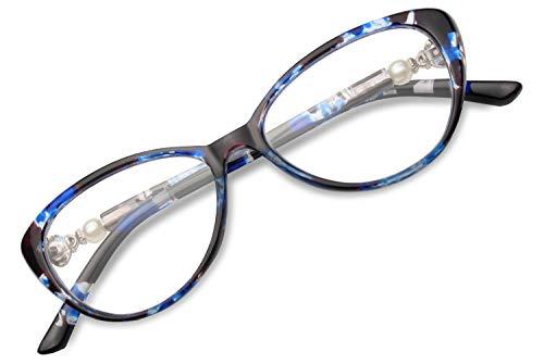 GAOYE Progressive Multifocus Reading Glasses Blue Light Blocking for Women Men,No Line Multifocal Readers (Blue Bean Flower, 2.5)