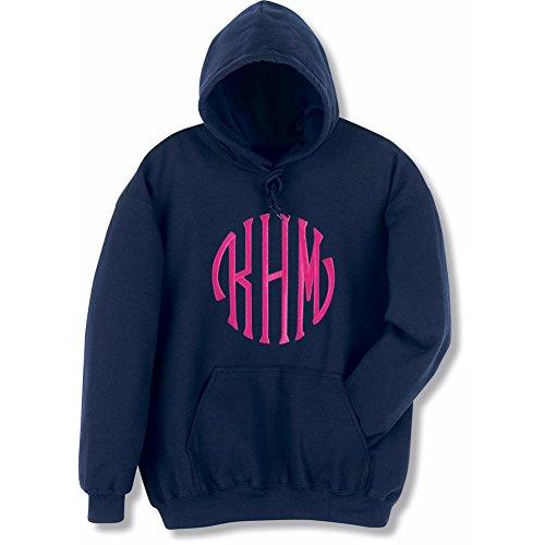 Unisex-Adult Monogrammed Hoodie - Custom Embroidered Personal Sweatshirt - Navy - Lg