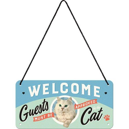 Retro H/ängeschild Vintage-Schild Nostalgic-Art 28027 Welcome Guests Cat Wand-Dekoration T/ür-Schild  Metall 10x20 cm