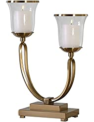 Contemporary Gold Bronze Hurricane Candleholder Two Arm Sophisticated Elegant