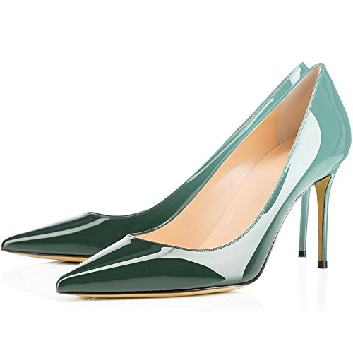 Stiletto Pumps, Comfity Sexy Pointy Toe Stiletto Heels Patent Slip On Zapatos De Boda Vestido De Fiesta Bombas De Tacón Verde Gradiente
