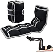 Ankle Weights Wrist Weights, Adjustable Ankle 5 Weights and Bundle-0.7 to 4.4 lbs Each, Set of 2 Comfortable,