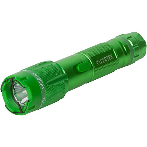 VIPERTEK VTS-T03 - Aluminum Series 53 Billion Heavy Duty Stun Gun - Rechargeable with LED Tactical Flashlight, Green