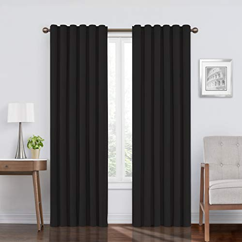 ECLIPSE Bradley Thermal Insulated Single Panel Rod Pocket Darkening Curtains for Living Room, 50' x 95', Black
