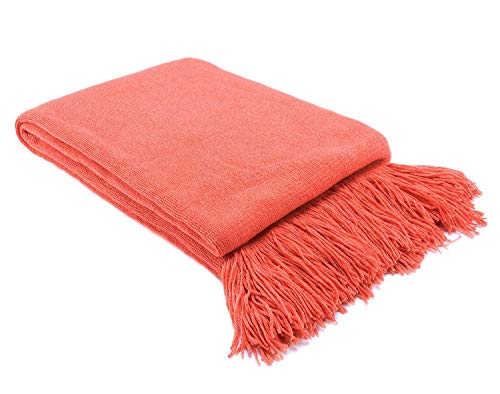 - LAGHCAT Solid Blanket Cross Woven Couch Throw Christmas Knitted Blankets with Decorative Fringe Lightweight for Bed or Sofa Decorative, 51 x 67 Inch, Orange