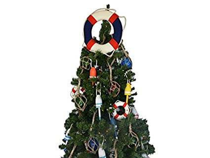 american lifering christmas tree topper decoration nautical christmas tree or