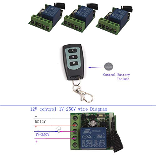 DC 12V 1 Channel Wireless Switch RF Remote Control Receiver Relay Toggle Switch 315/433MHz【Momentary,Self-lock,Inter-lock,Delay】Changable by PCB Board (1X Control 315MHz)