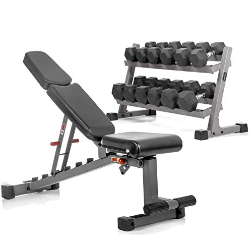 XMark's Two Tier Heavy Duty Steel Dumbbell Rack, 450 lbs. of XMark's Superior Rubber Coated Hex Dumbbells, and Adjustable Weight Bench