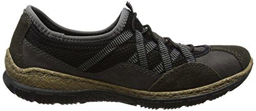 Fumo Graphit Femme 36 Rieker Sneakers N3251 Grey Schwarz Basses EU wIpIXB