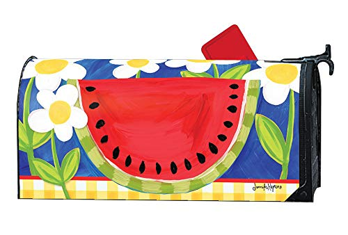 MailWraps Studio M Summer Watermelon Decorative Whimsical, The Original Magnetic Mailbox Cover, Made in USA, Superior Weather Durability, Standard Size fits 6.5W x 19L Inch Mailbox