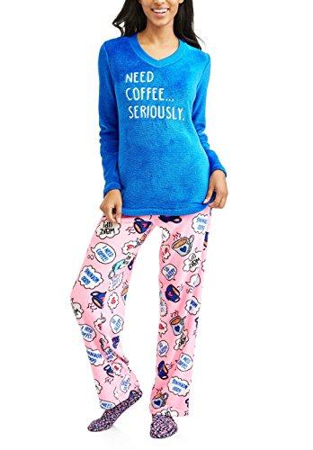 Fleece Print Pajama Set - Need Coffee Seriously Print Pants 3 Piece Fleece Pajama Sleep Set w/ Socks - Large