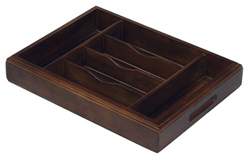 Mountain Woods Walnut 6 Compartment Premium Hardwood Organizer Tray