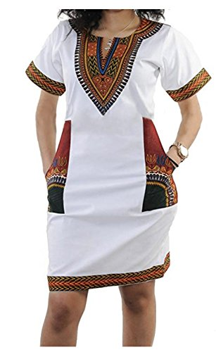 SUKIYAKI Women's Bohemian Dashiki African Vintage Print Club Midi Bodycon V-Neck Dress (L, (Modern African Clothing)
