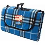 Homezone® Large Blue Tartan Fleece Outdoor Picnic Blankets,Waterproof Backing 135cm x 105cm Heavy Duty Material Camping Tote Mat.
