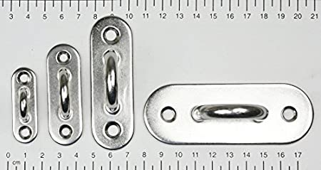 45x15mm schmal Wandhaken D5 KAMERO Edelstahl Augplatte Haken V2A