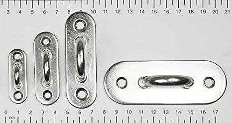 schmal 10x KAMERO Edelstahl Augplatte 60x20mm V2A Wandhaken D6 Haken