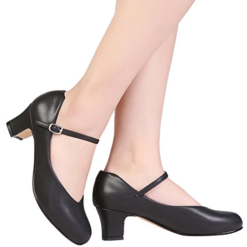 STELLE Women's Character Dance Shoe (4M US, Black)