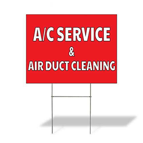 Plastic Air Duct (A/C Service & Air Duct Cleaning Outdoor Lawn Decoration Corrugated Plastic Yard Sign - 18inx24in, Free Stakes)