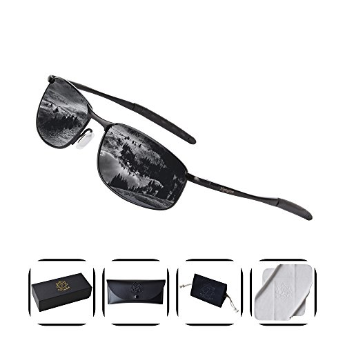 Polarized Retro Sunglasses for Men, HEPTAGRAM Rectangle Metal Frame for Driving Fishing Sporting with Case (Black) ()