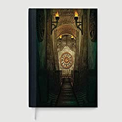 Casebound Hardcover Notebook,Arrow,College Ruled Notebook/Composition/Journals/Dairy/Office Note Books,Medieval Passage with Torch and Golden Clock on Wall Mystery in Temple Print Decorative,96 Ruled