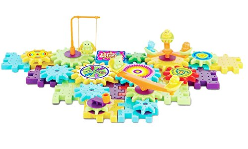 BLACK FRIDAY DEAL CYBER MONDAY DEAL ~ 82 Pcs Interlocking Building Blocks and Gears Construction Challenge Educational Building Toy Set Motorized Spinning Gears for Children Kids Boys Girls ~ Cafolo