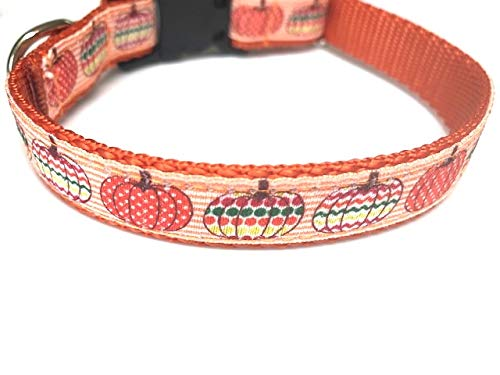 Big Pup Pet Fashion Cute Pumpkins Dog Collar, Fall Dog Collar, Halloween Dog Collar, Decorative Painted Pumpkins Designer Dog Collar ()