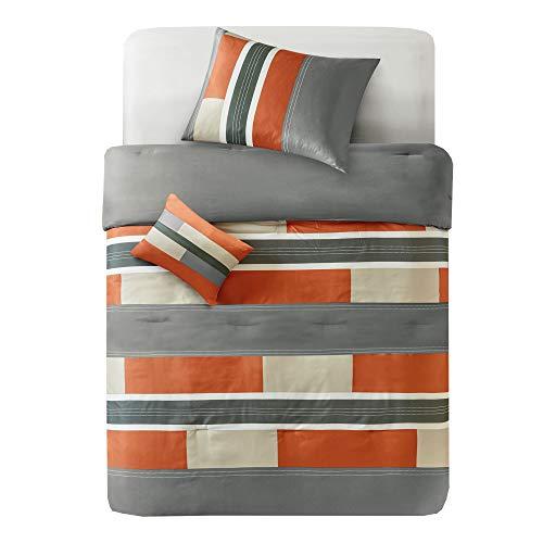 Comfort Spaces - Pierre Comforter Set - 4 Piece - Gray/Orange - Multi-Color Pipeline Panels - Perfect for Dormitory - Boys - Full/Queen Size, Includes 1 Comforter, 2 Shams, 1 Decorative Pillow