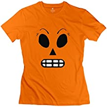 FQZX Women's Meche Face Grim Fandango Remastered T Shirt Large Orange
