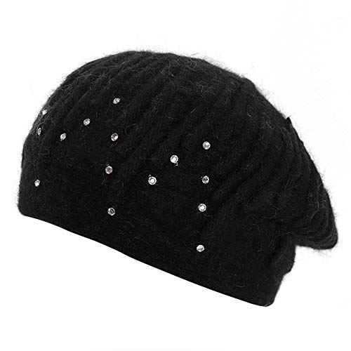 XIHAA Winter Fashion Berets Stretch Beanie Keep Warm Rabbit Hair Cap Cute Diamond Pumpkin Cap Casual Hat Double Velvet Knit Hat,Black
