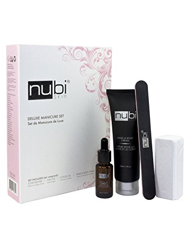 Nubi Deluxe Manicure Pedicure Set | 3-step Buffer, Nail file, Cuticle Oil and Hand and Body Lotion | Because Your Nails Also Deserve to Stay Healthy and Stylish