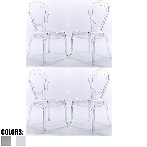 2xhome - Set of Four (4) - Belle Style Ghost Side Chairs Dining Room Chair - Clear Accent Seat - Lounge No Arm Arms Armless Less Chairs Seats Higher Fine Modern Designer Artistic