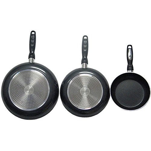 3 Piece Black Nonstick Fry Pans, Heavy-Duty, Ergonomically Designed , Round Shape, Good Quality, Aluminum Construction, Oven Safe, Dual-Riveted, Everyday Use, Eco-friendly, Easy Cleanup, Charcoal