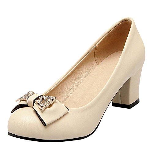 Charm Foot Womens Elegante Archi Strass Pesante Tacco Medio Pompa Scarpe Beige