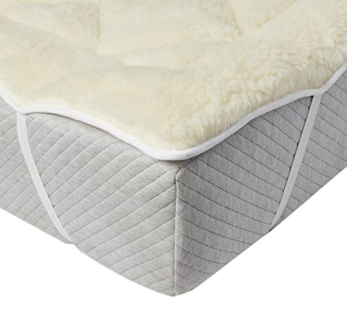 Perfect Fit | Cool Wool Extra Plush Down Alternative Reversible Mattress Pad / Topper, Hypoallergenic, Washable Wool (Queen) ()