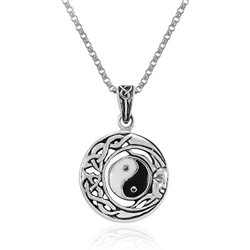 Inlay Sterling Silver Celtic Pendant - MIMI Sterling Silver Flowing Sun and Moon Celtic Yin Yang Pendant Necklace, 18 inches