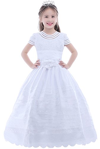 Dobelove Girl's Ball Gown Short Sleeves First Communion Dress Flower Girl Dress,12,White-a (First Communion Dresses 2017)