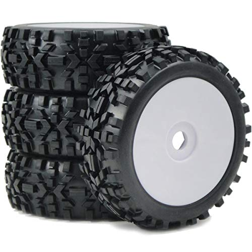 4pcs 1/8 RC Off-Road Buggy Badland Tires All Terrain Tyres & Hex 17mm Wheels for RC 1:8 Buggy Black, White (Best 1 8 Buggy)
